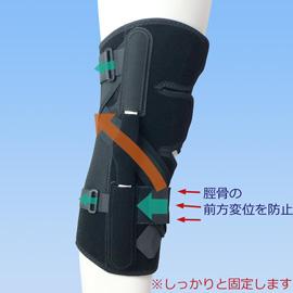 前十字靭帯損のスポーツ用膝サポーター|ニーケアー・ACL(側面)