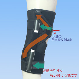 スポーツ用後十字靭帯損傷膝サポーター エクスエイドニーPCL(側面)
