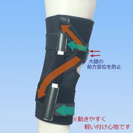 スポーツで動きやすい後十字靭帯損傷膝サポーター|エクスエイドニーPCL(側面)